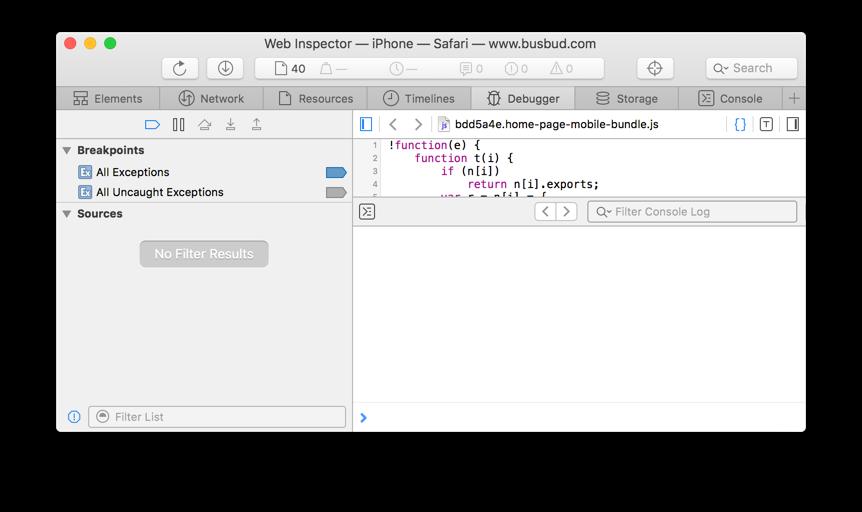Mac's Safari Web Inspector window, debugger tab