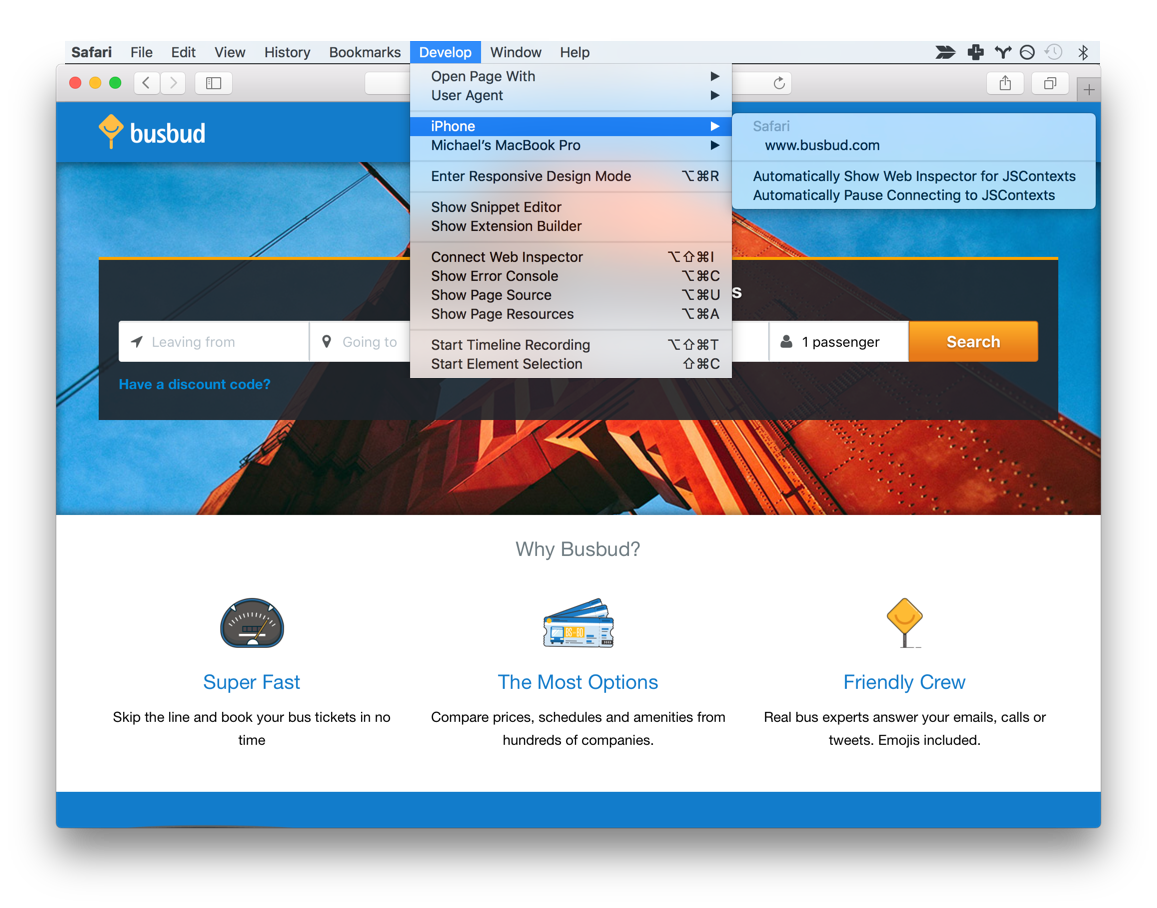 Accessing Mac's Safari remote debugger for your iPhone